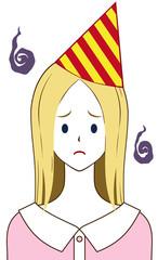 女性 三角帽子 困り顔