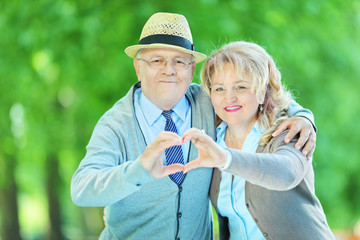 Mature couple making a heart shape with their hands