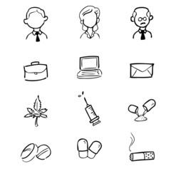 Businessman drugs icons set