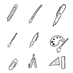Stationery drawing icons set cartoon vector