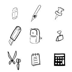 Stationery drawing icons set cartoon