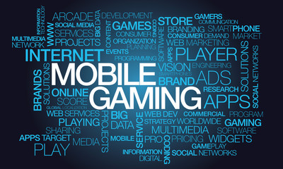 Mobile gaming apps word text tag cloud illustration