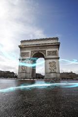 Blue streak of lights at Arc de Triomphe