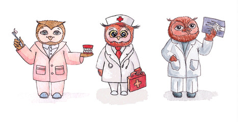 Owls - employees of medicine. Vector watercolor. Set.