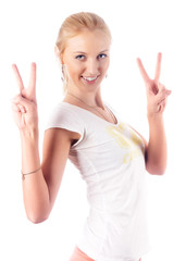 Attractive woman with victory sign