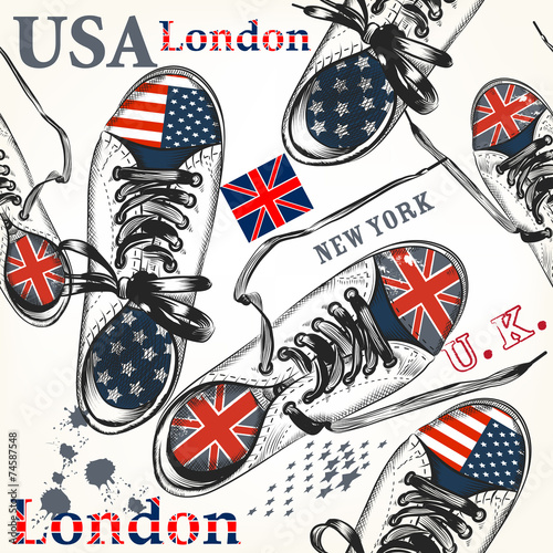 Fashion seamless pattern with sports boots decorated by British - 74587548