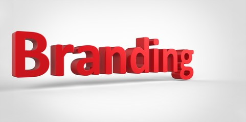 Branding 3D red text Illustration word Render