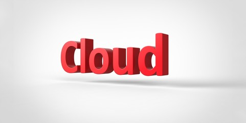 Cloud 3D red text Illustration word Render