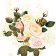 Grunge pastel design with roses and notes