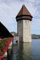 View on the old wooden chapel bridge in Lucerne Switzerland