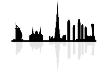 Dubai city skyline silhouette vector illustration