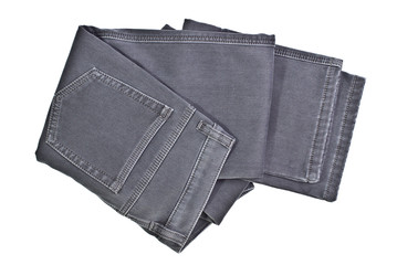 Image gray jeans on a white background