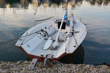 Motor Italian boat on offshore berth Italy
