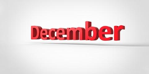 December  3D text Illustration word Render