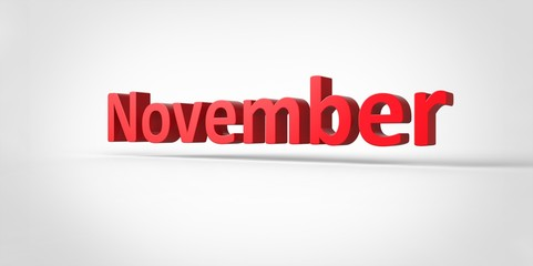 November  3D text Illustration word Render