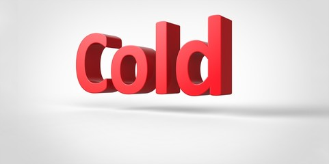 Cold  3D text Illustration word Render