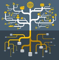 network file storage icons set infographics