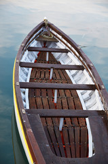 Wooden boat vintage type on offshore berth