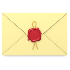 Envelope with red wax seal 3d illustration