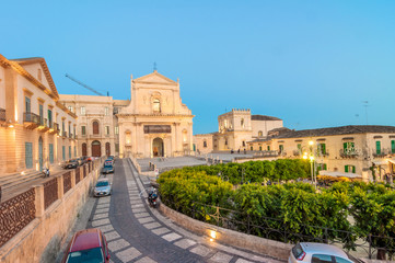 blue hour view of Noto downtown, Sicily, Italy