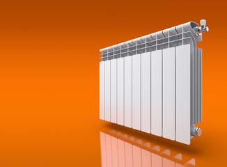 Radiator on orange reflective background