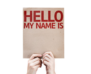 Hello My Name Is card isolated on white background