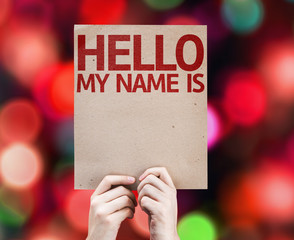 Hello My Name Is card with colorful background