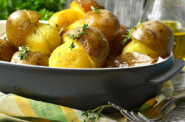 """Fried potato ''Mushrooms"""" with thyme."""