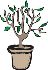 cartoon potted plant