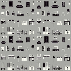Furniture vector seamless pattern 1