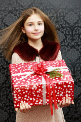 Merry Christmas  - lovely girl with christmas present