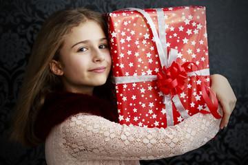Merry Christmas  - lovely girl with christmas present