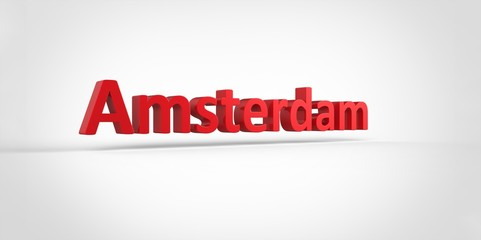 Amsterdam 3D text Illustration of City Name