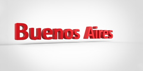 Buenos Aires 3D text Illustration of City Name