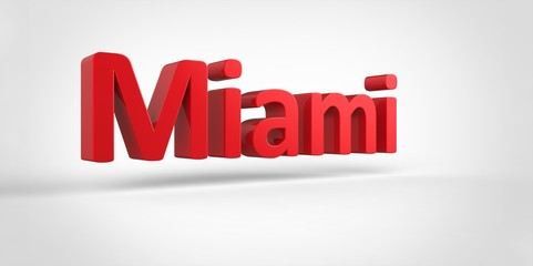 Miami 3D text Illustration of City Name