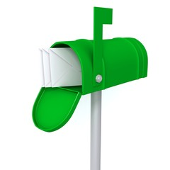 Green mailbox with envelopes