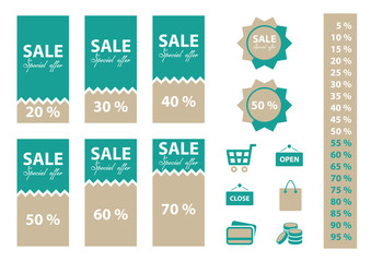 Sale labels set with percentages and shopping icons.