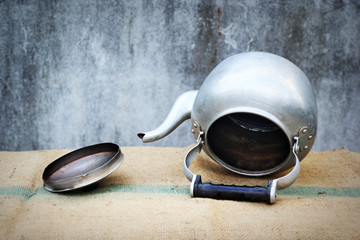 the still life old aluminium kettle