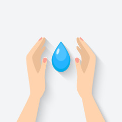 water drop in hands symbol