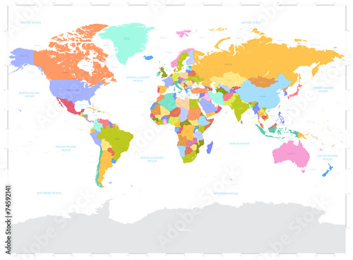 Hi Detail colored Vector Political World Map illustration Poster