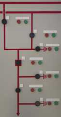 Control panel with single line diagram and command buttons