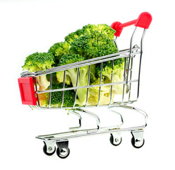 Horizontal view of organic broccoli in miniature shopping cart