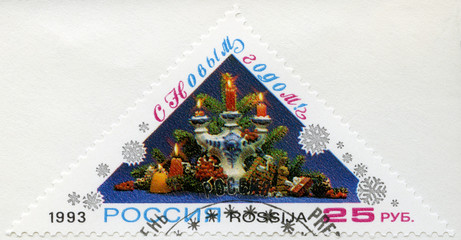 RUSSIA - 1993: candlestick (Gzhel ceramics), Happy New Year!