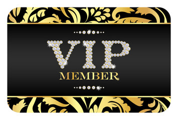 VIP member card with golden floral pattern.