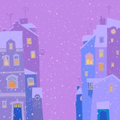 Evening winter cityscape