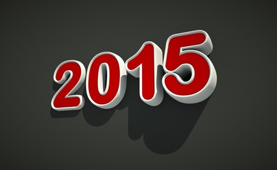 3D New year 2015 logo on black background