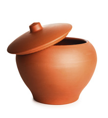 stew clay pot isolated with path