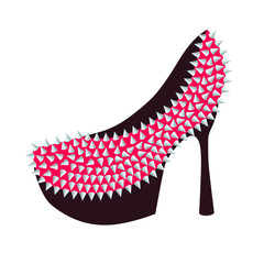 Women's high-heeled pink shoes decorated with studs