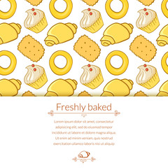 Vector illustration delicious pastries in doodle style with