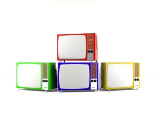 Vintage old television isolated